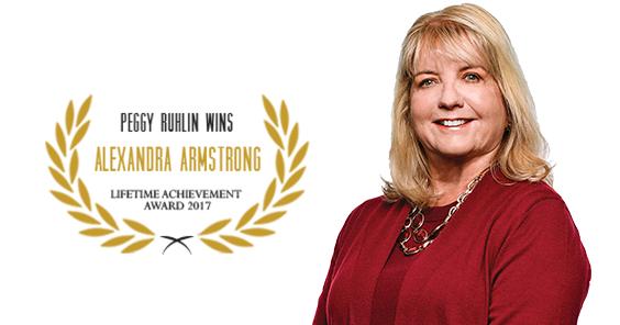 Peggy Ruhlin accepts the Alexandra Armstrong Award